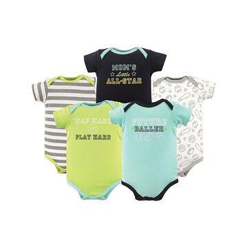 Luvable Friends Boys' Infant Bodysuits Sports - Green & Aqua 'Sports' Basic Bodysuits - Set of Five