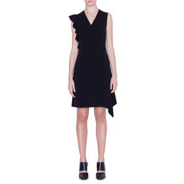 Asymmetric-Ruffled Crepe Dress