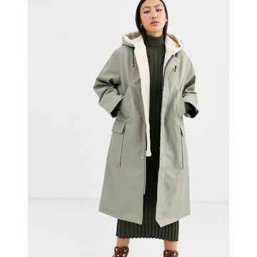 ASOS WHITE borg and PU parka coat-Multi
