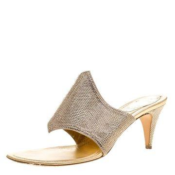 Rene Caovilla Gold Crystal Embellished Satin Slides Size 38