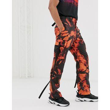 Jaded London drawstring cargo pants in orange tie dye