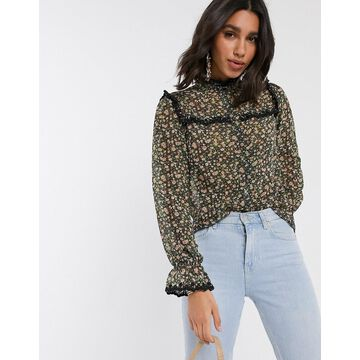 Y.A.S shirt with lace trim in floral print-Cream