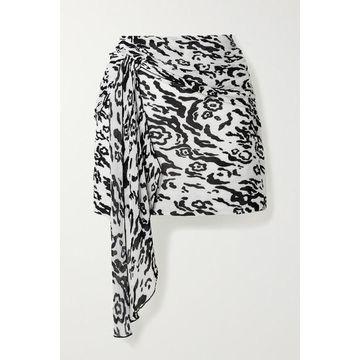 Self-Portrait - Draped Leopard-print Plisse-chiffon Mini Skirt - White