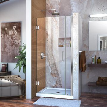 DreamLine Unidoor 72-in H x 36-in to 37-in W Frameless Hinged Chrome Shower Door (Clear Glass) | SHDR-20367210-01
