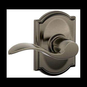 Schlage F10-ACC-CAM Accent Passage Door Lever Set with the Decorative Camelot Trim Antique Pewter Leverset Passage
