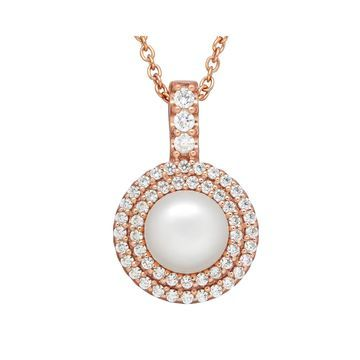 Certified Sofia Bridal Cultured Freshwater Pearl & Swarovski Cubic Zirconia Pendant
