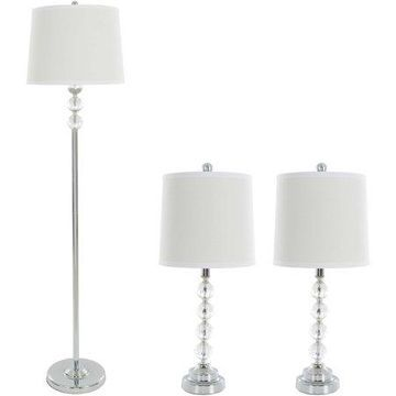 Table Lamps and Floor Lamp with Shades, Set of 3 by Lavish Home, (3 LED Bulbs included), Multiple Styles