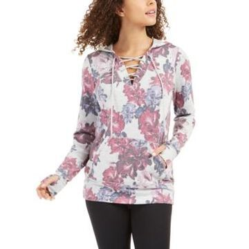 Ideology Floral-Print Lace-Up Hoodie, Created for Macy's