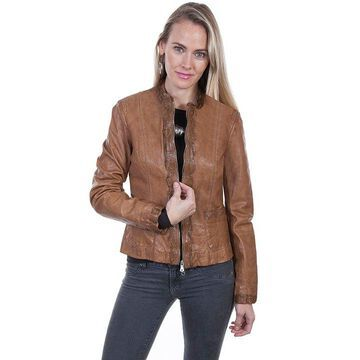 Scully L247 10 S Womens Cognac Soft Lamb Lace Trim Jacket, Small