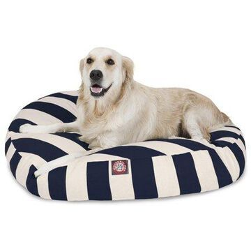 Majestic Pet Vertical Stripe Round Dog Bed Treated Polyester Removable Cover Navy Blue Large 42 x 42 x 5
