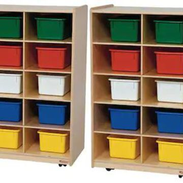 Wood Designs Folding Vertical Storage With 20 Assorted Trays, Birch | Quill