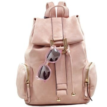 Dasein Drawstring Side Pocket Fashion Backpack with Matching Sunglasses