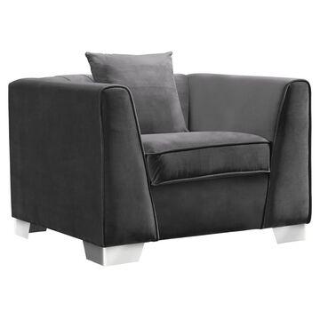 Armen Living Cambridge Contemporary Sofa Chair Velvet Dark Gray