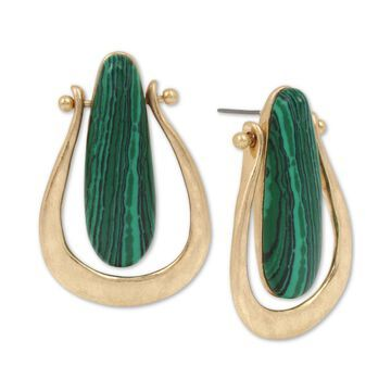 Gold-Tone Stone Sculptural Drop Earrings