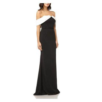 CARMEN MARC VALVO Black Full-Length Dress 10