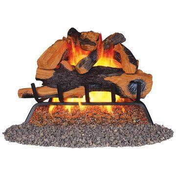 Remington 24-in 55000-BTU Pan-Burner Vented Gas Fireplace Logs in Brown