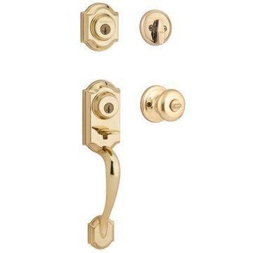 Kwikset 95530-017 Polished Brass Montara Two-Point Locking Single Cylinder Handleset With Juno Knob