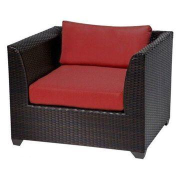 TK Classics Barbados Outdoor Wicker Club Chair, Terracotta