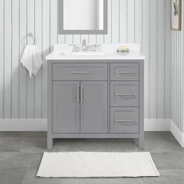 allen + roth Brinkhaven 36-in American Gray Undermount Single Sink Bathroom Vanity with White Engineered Stone Top   BRINKHAVEN-36AG