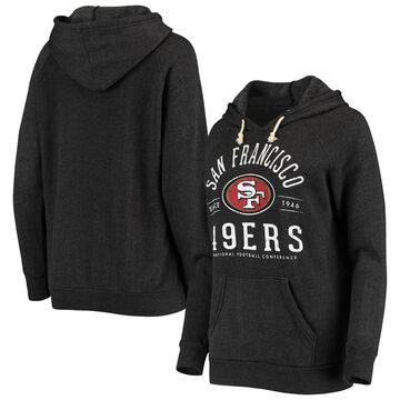 San Francisco 49ers Majestic Threads Women's Field Goal Tri-Blend Raglan Pullover Hoodie Black