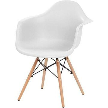 Iris IRS586715 Classic Shell Chair with Armrests, White
