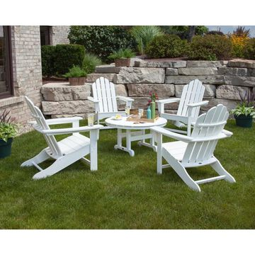 POLYWOOD Kahala 5-piece Adirondack Chair Conversation Set with Round Table