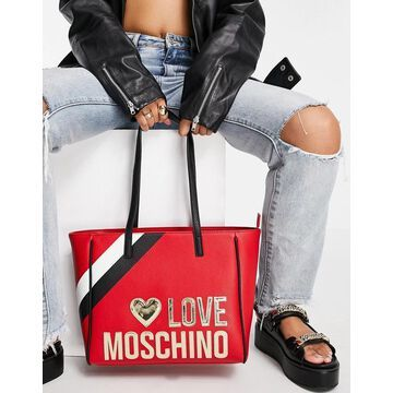 Love Moschino large logo tote bag in red