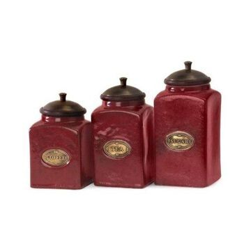 IMAX Home 5268-3 Red Ceramic Canisters, Set of 3, Red