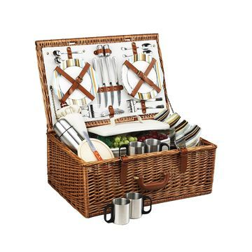 Dorset English Style Willow Picnic, Coffee Basket -Service for 4
