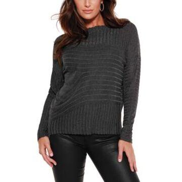 Belldini Black Label Metallic Novelty Stitch Pullover Sweater