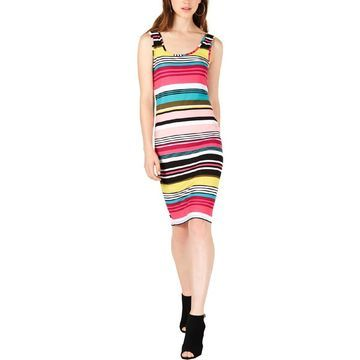 Planet Gold Womens Striped Midi Casual Dress