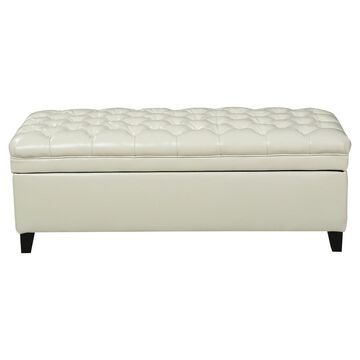 Juliana Tufted Faux Leather Storage Ottoman - Christopher Knight Home