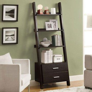 Monarch 4-Shelf Ladder Bookcase w/ 2 Storage Drawers, Cappuccino