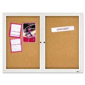 Quartet Enclosed Bulletin Board Natural Cork/Fiberboard 48 x 36 Silver Aluminum