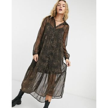 Noisy May tiered maxi shirt dress in leopard-Multi