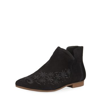 Francine Embroidered Suede Booties