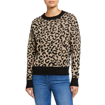 Leopard Crewneck Contrast Trim Sweater
