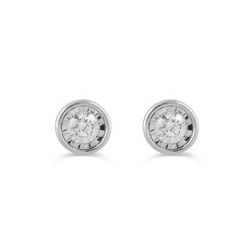 Divina Sterling Silver 1/4ct TDW Diamond Stud Earrings