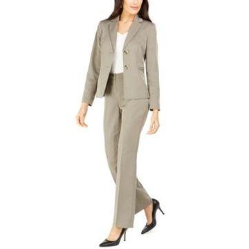 Le Suit Petite Straight-Leg Tonal-Striped Pants Suit