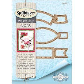 Spellbinders Chantilly Paper Lace By Becca Feeken-Vintage Pierced Banners .5