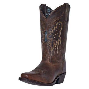 Laredo Fashion Boots Womens Cora Square Toe Leather Brown Blue