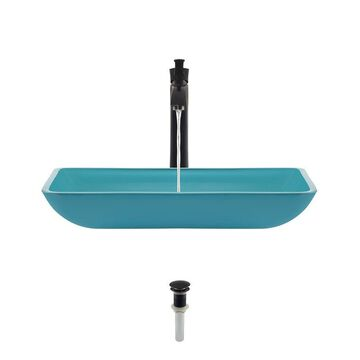 MR Direct Turquoise Tempered Glass Vessel Rectangular Bathroom Sink with Faucet (Drain Included)