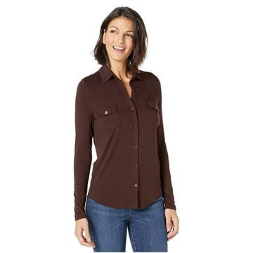 Majestic Filatures Soft Touch Long Sleeve Button-Down Shirt