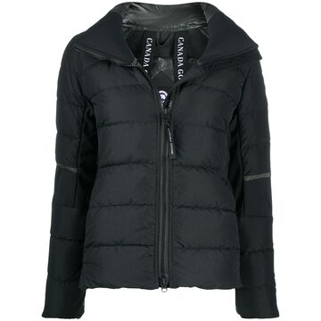 fitted logo patch puffer jacket