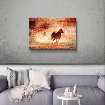 ArtWall's Horses Running Free Gallery Wrapped Canvas