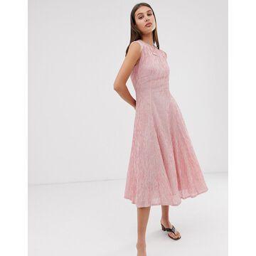 ASOS WHITE stripe sleeveless midi dress with seam detail-Red