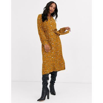 Y.A.S floral midi shirt dress-Brown