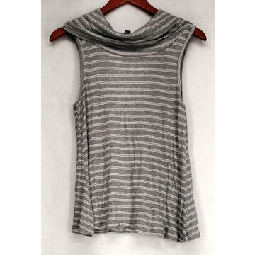 Ultra Flirt Top Sz M Cowl Neck Curved Hem Knit Tank Gray Womens