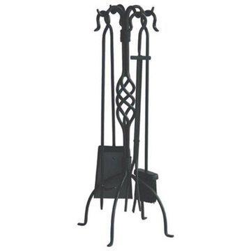 Uniflame Wrought Iron Fireplace Tool Set, Black Finish, 5-Piece