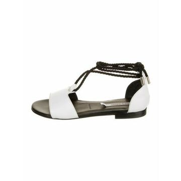 Leather T-Strap Sandals White